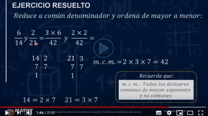 reducir a común denominador fracciones