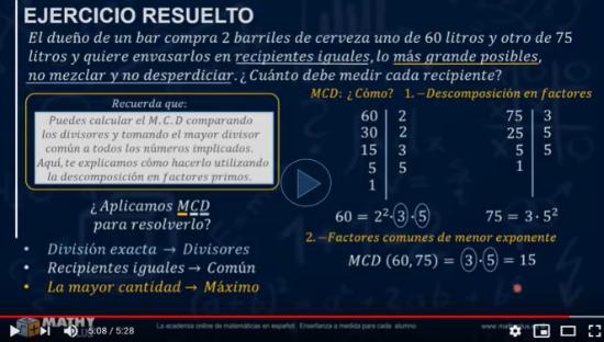 vamos a aplicar el cálculo del máximo común divisor