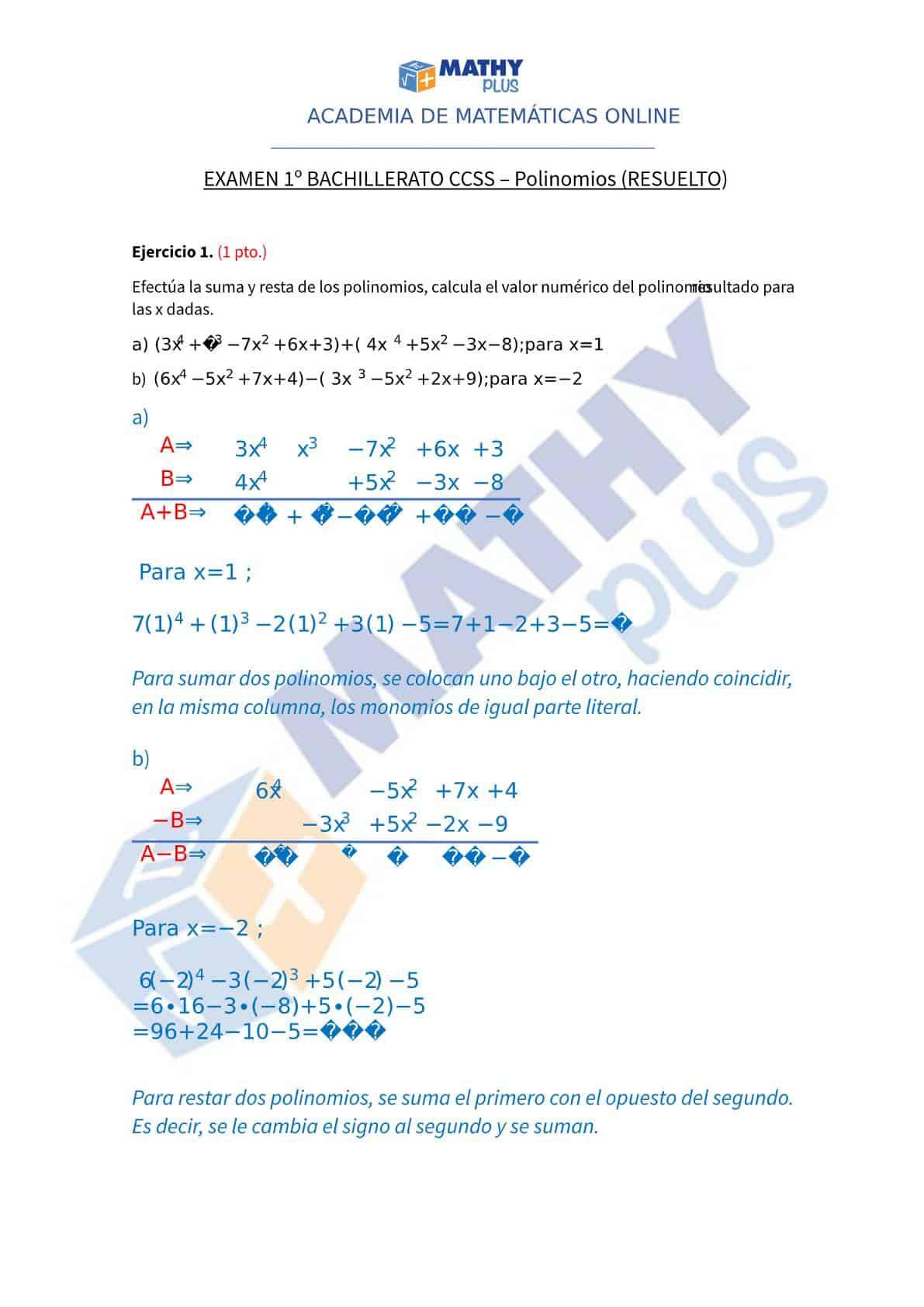Examen resuelto polinomios