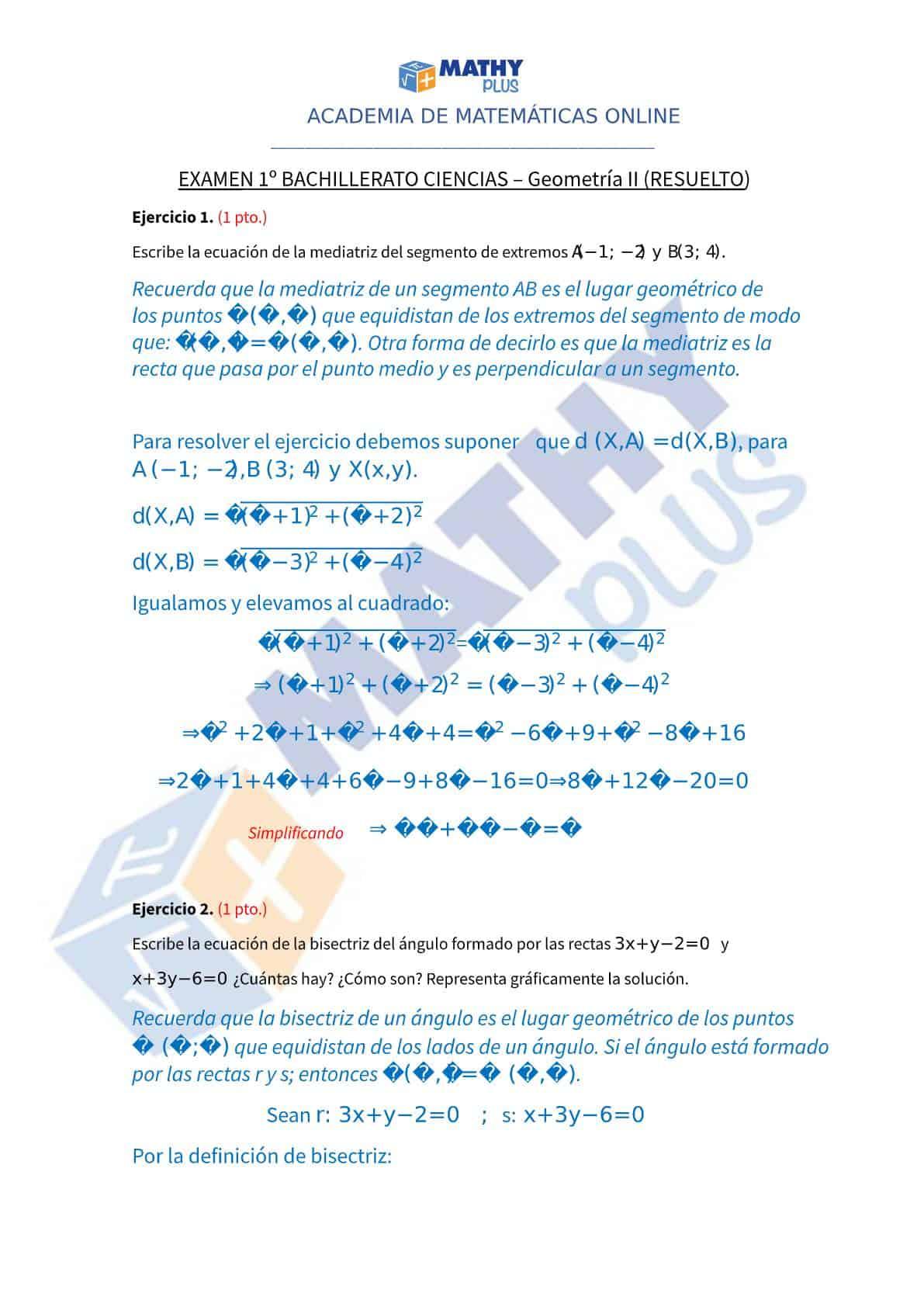 Examen resuelto geometria II
