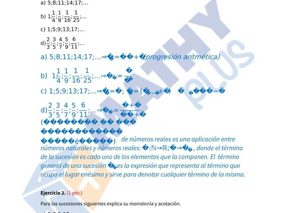 Examen resuelto sucesiones y logaritmos