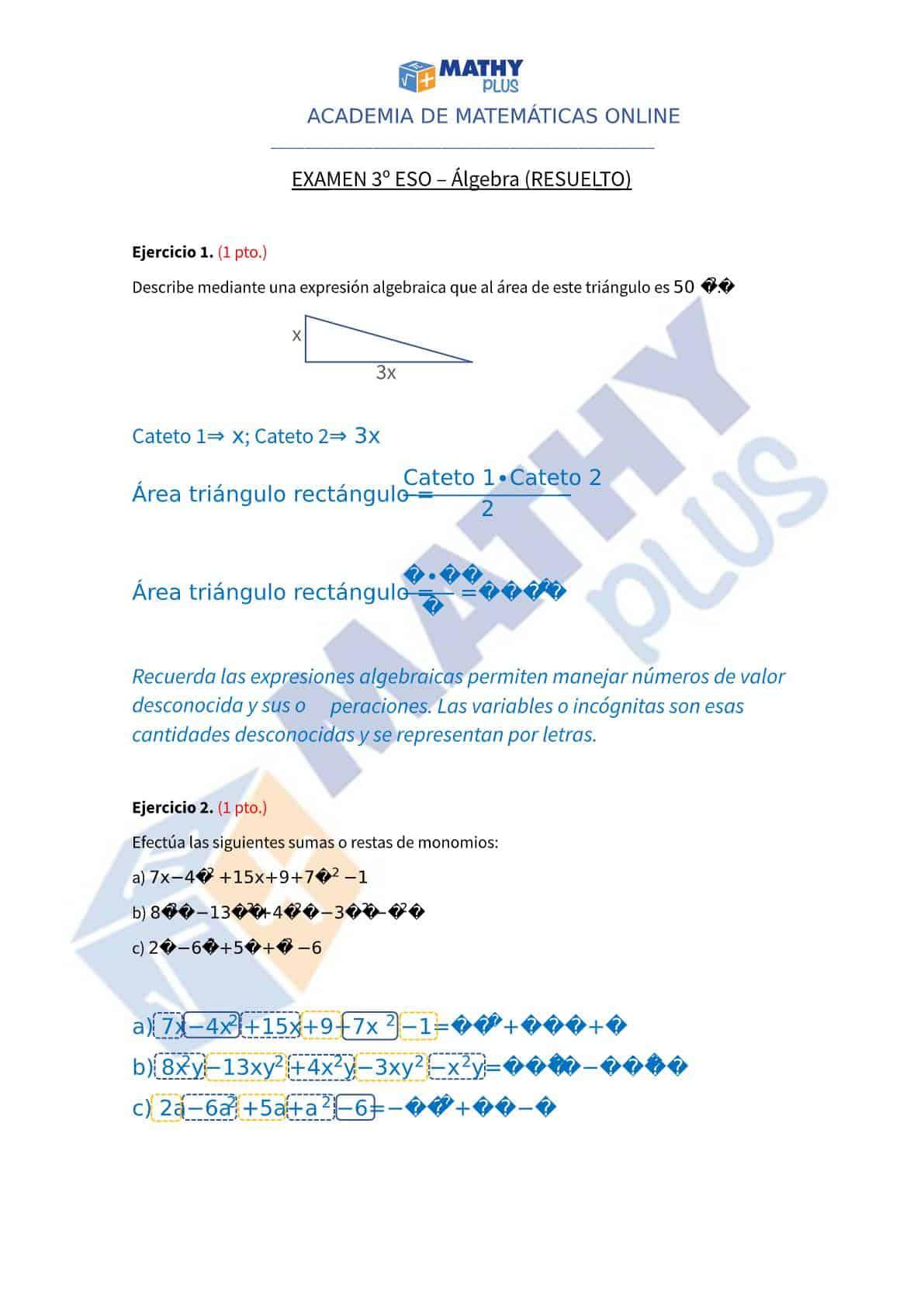Examen resuelto algebra 3 ESO