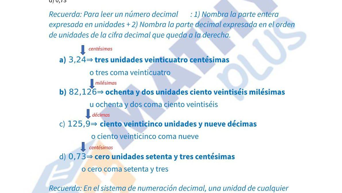Examen resuelto números decimales