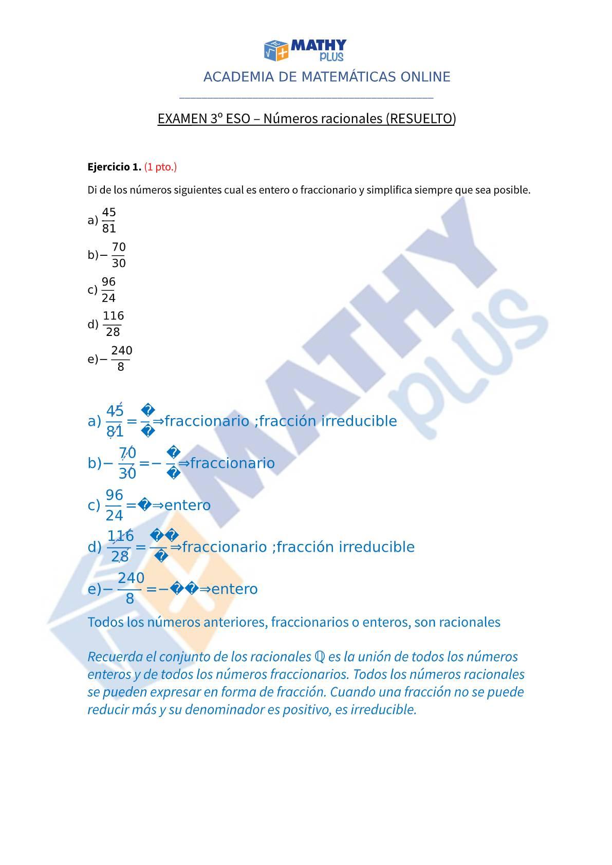 Examen resuelto números racionales