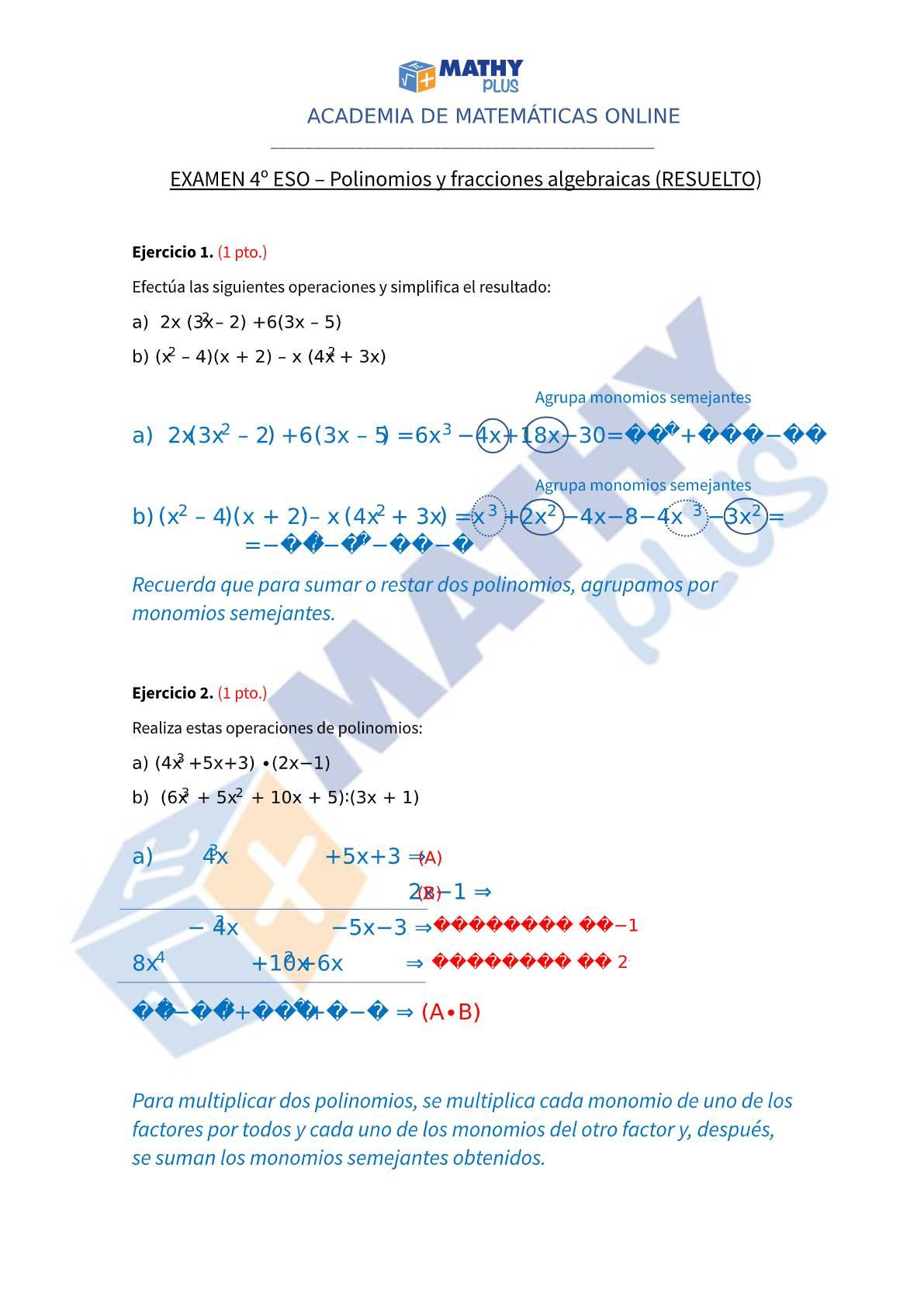 Examen resuelto polinomios y fracciones algebraicas