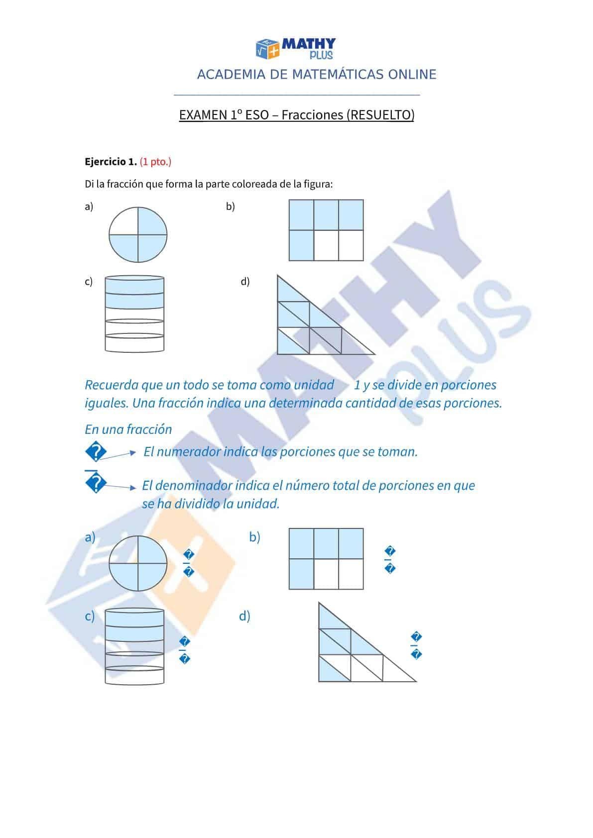 Examen resuelto fracciones
