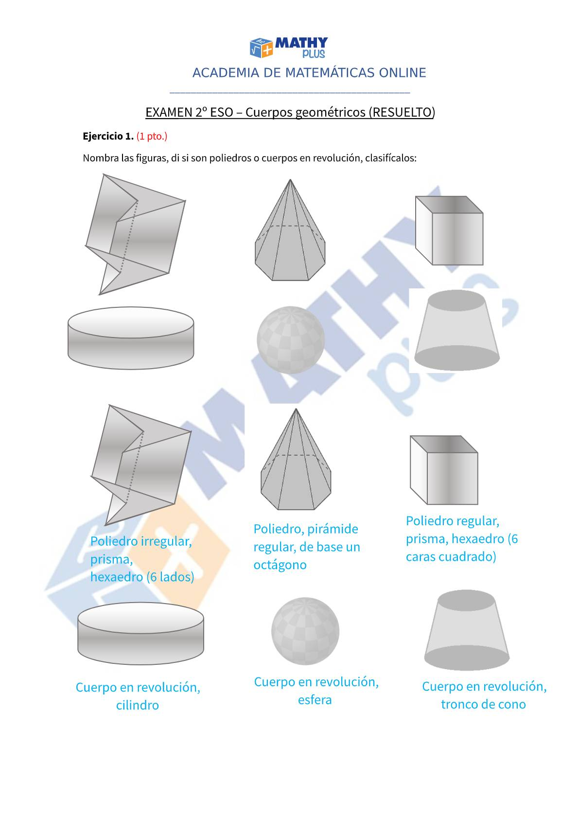 Examen resuelto cuerpos geométricos
