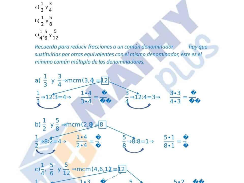 Examen resuelto operaciones con fracciones